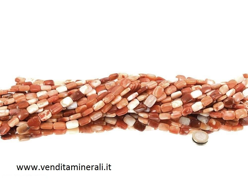 Collana rettangolare di agata (rosso)