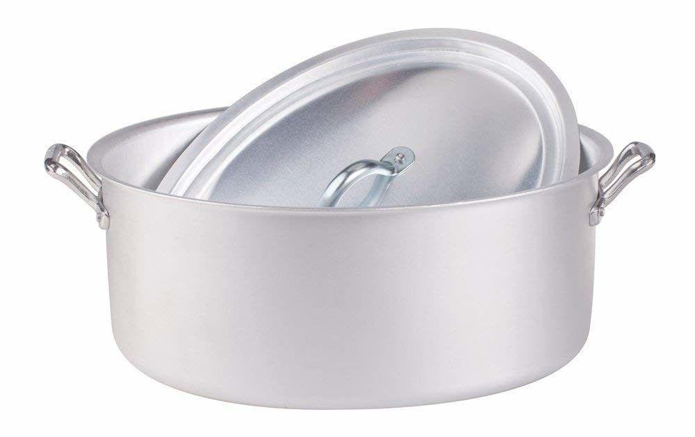 Pentole Agnelli ALSA126S36 Casseruola Ovale con Coperchio in Alluminio, con 2 Manici in Acciaio Inossidabile, Argento