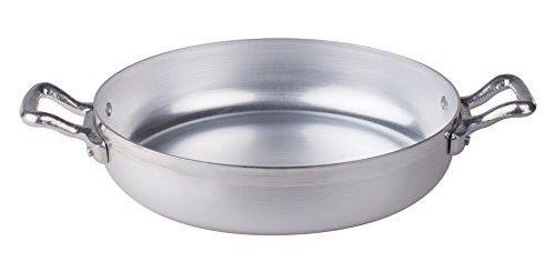 Pentole Agnelli FAMA1022 Tegame in Alluminio BLTF con 2 Manici in Acciaio Inossidabile, 22 cm, Argento