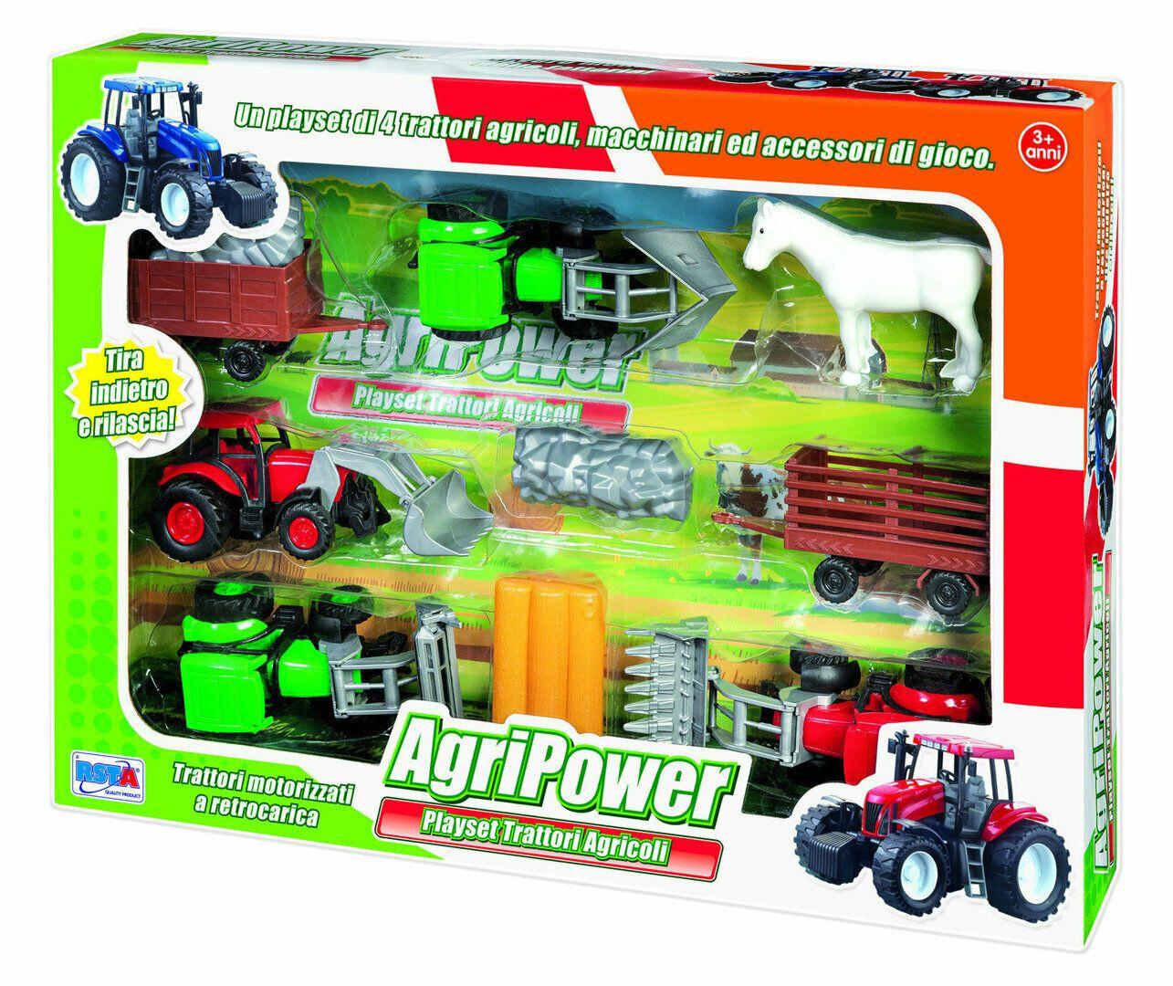 Playset 4 Trattori Agricoli - motorizzati a retrocarica