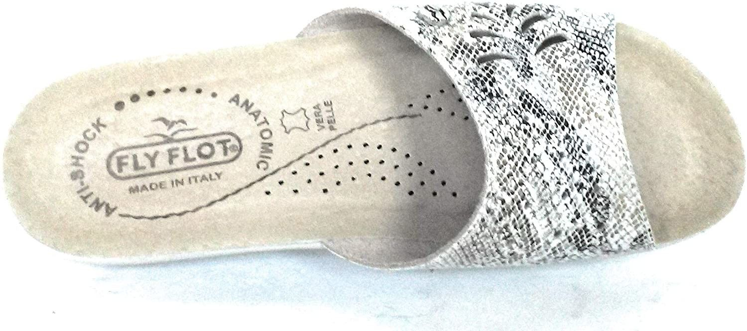 Fly Flot T4A54 R3 Bianco Ciabatte Donna Made in Italy Sottopiede Vera Pelle Zeppa 4 CM Antiscivolo ANTISHOCK Anatomica