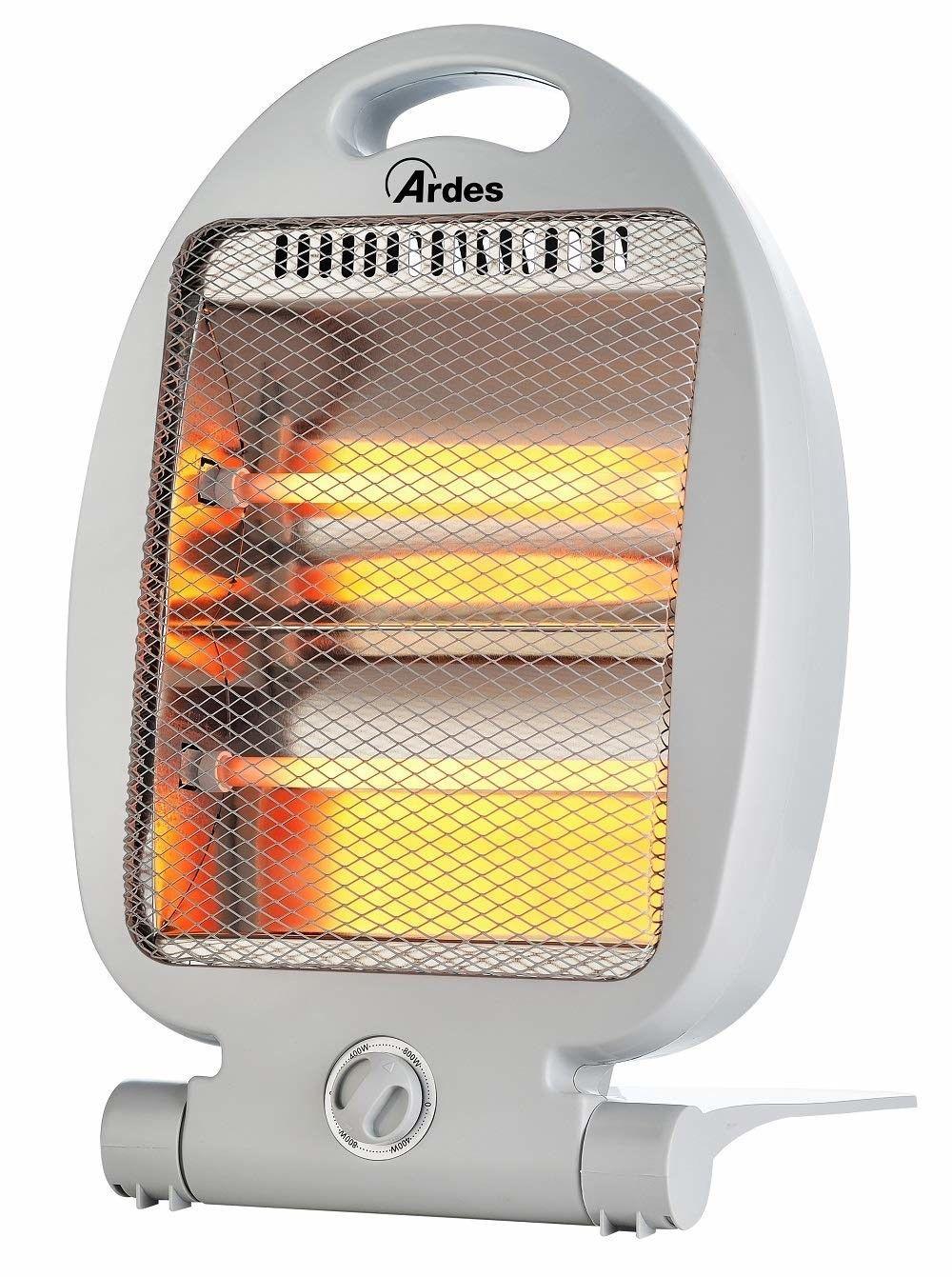 Ardes AR435B Stufa al Quarzo Compatta FLEXO Con Base Pieghevole 2 Lampade e 2 Potenze Bianco