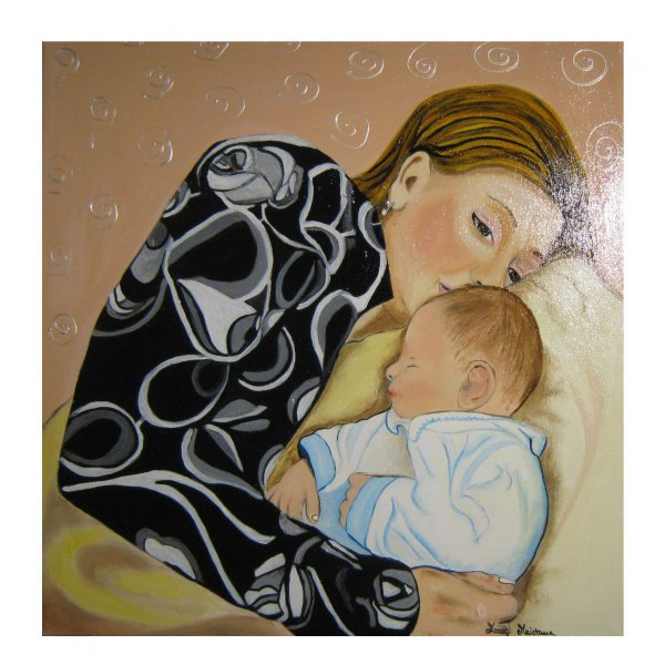 Ritratto di mamma con bambino - 50x50