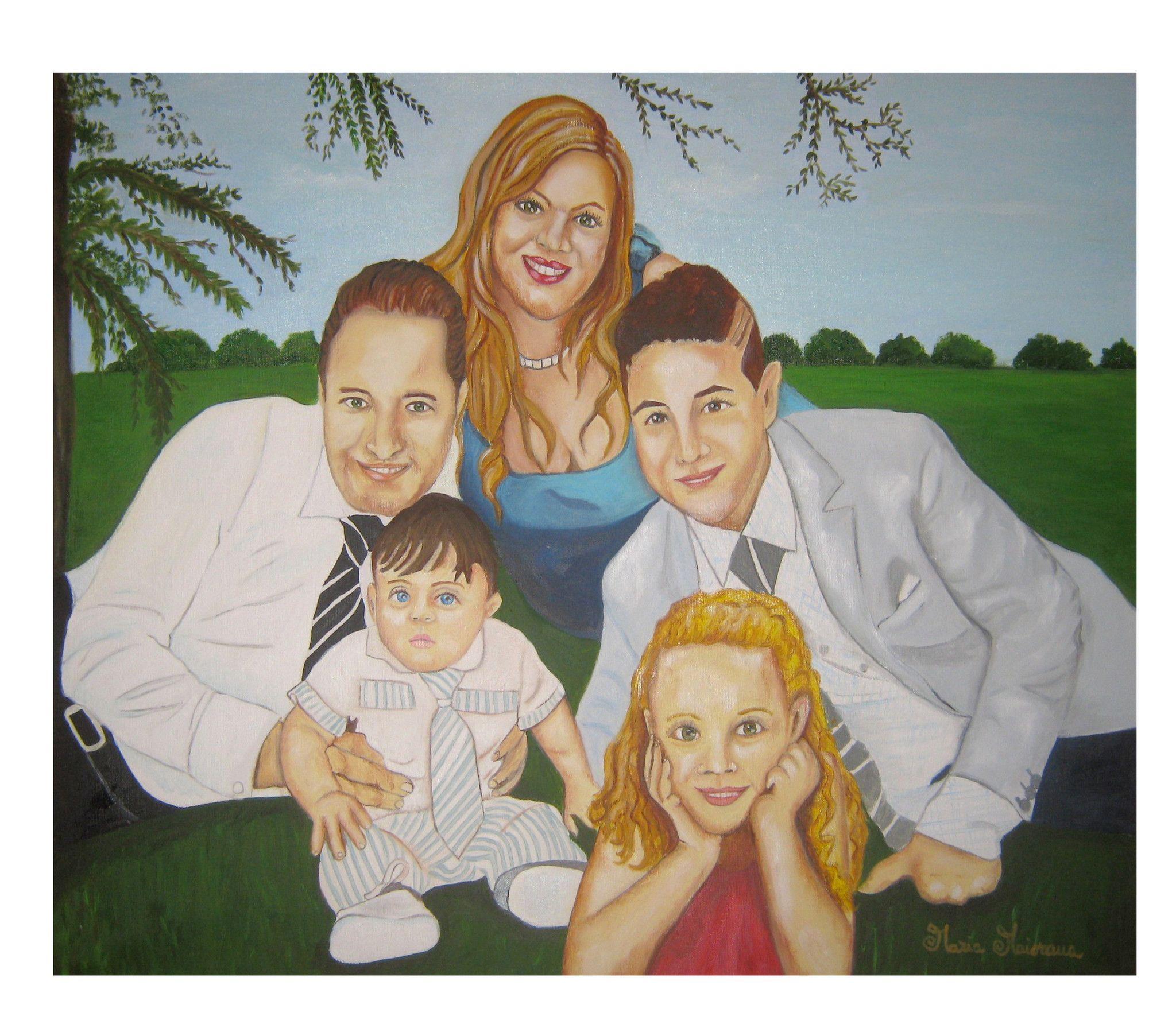 Ritratto di famiglia in giardino