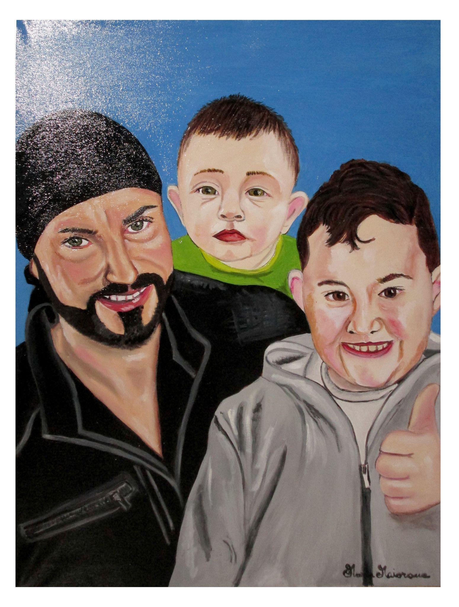 Ritratto di papà con due figli