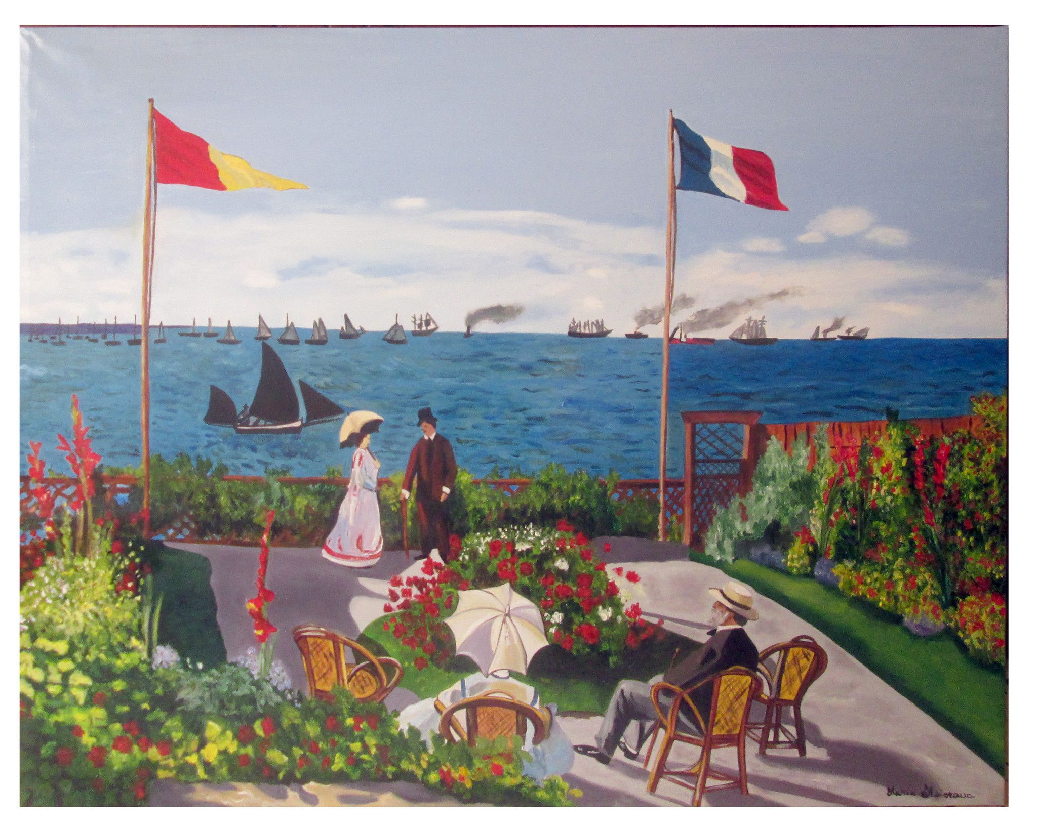 La terrazza a Sainte-Adresse - Copia di Claude Monet