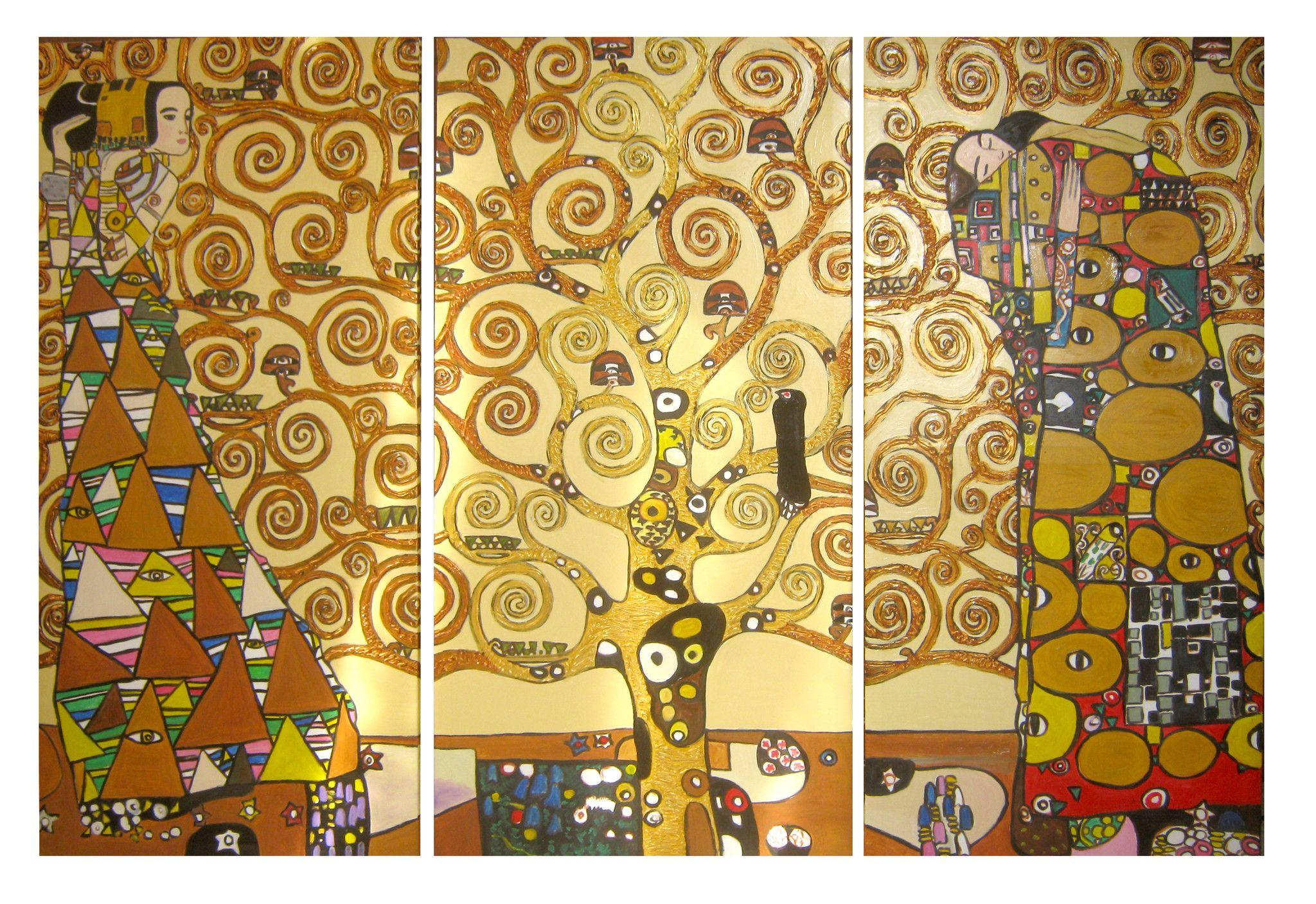 L'albero della vita - Copia di Gustav Klimt - n.3 panneli 90x45