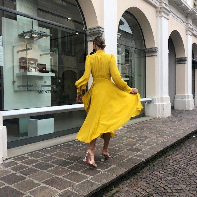 Abito Anna fiocco giallo NG71