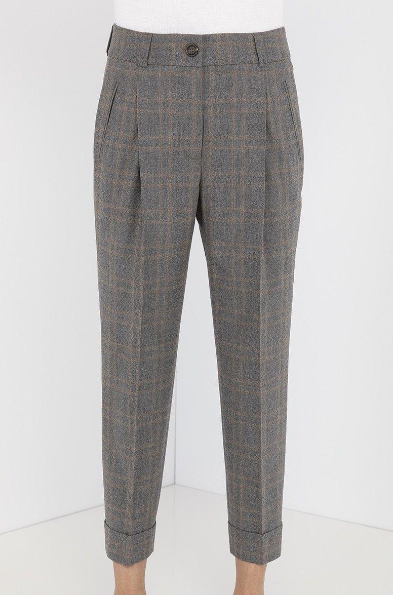 Pantalone con pinces lana grigio CAPPELLINI
