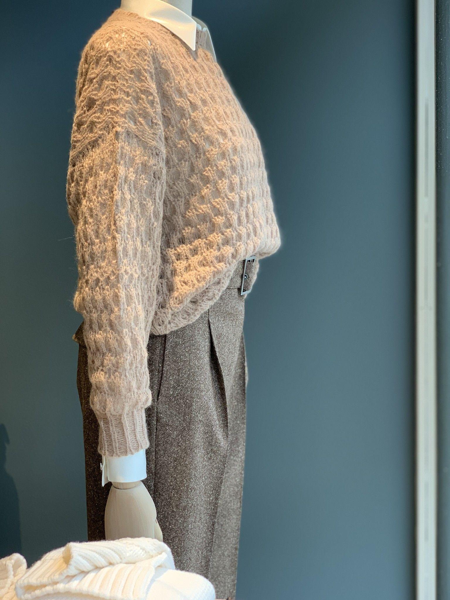 Maglia in lana ed aplaca nocciola CAPPELLINI