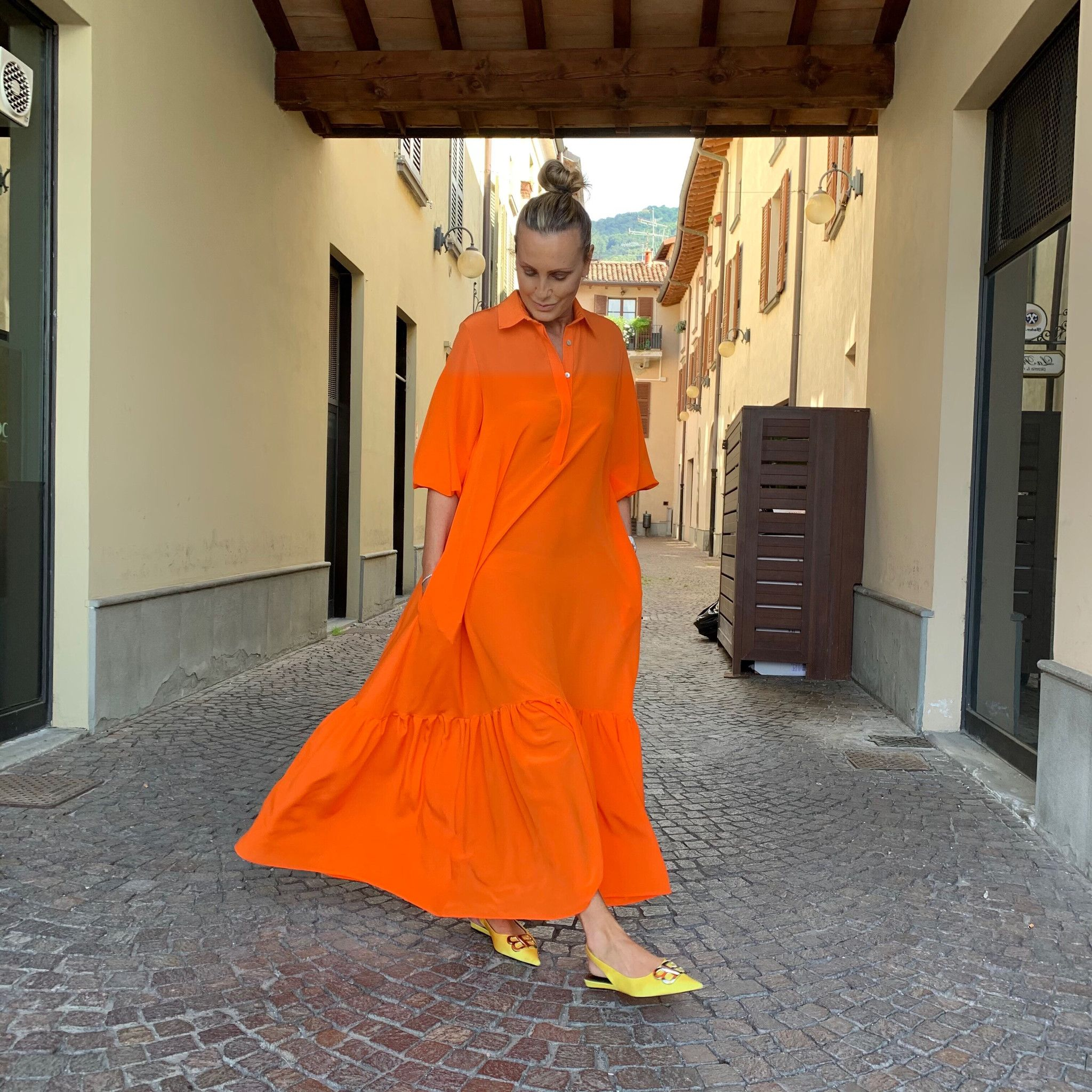 Abito Giusy NG71 seta arancio