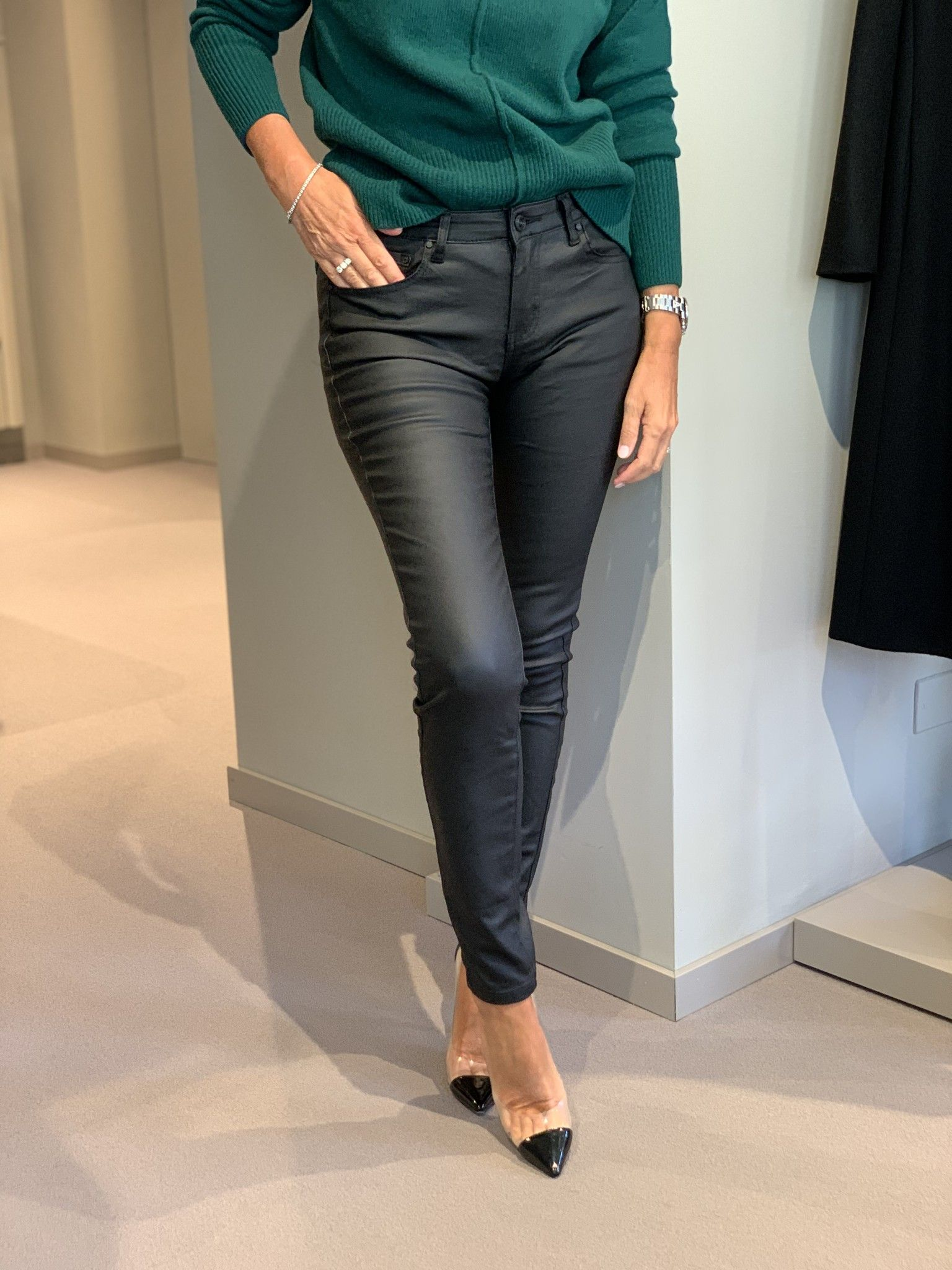 Jeans ecopelle nero MARTINELLY