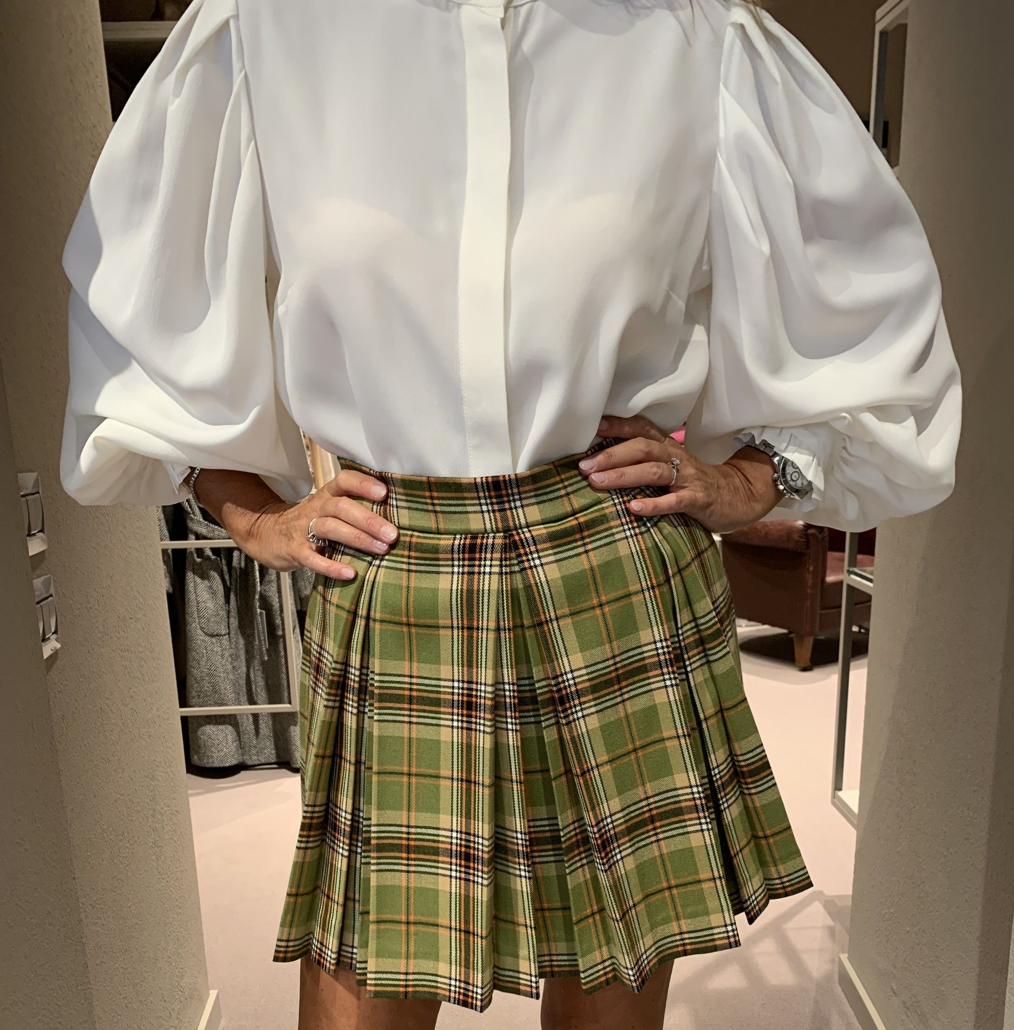 Gonna Antonia scozzese NG71 plisse' lana