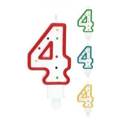 CANDELA COMPLEANNO N. 4 COLORI ASSORTITI 563404