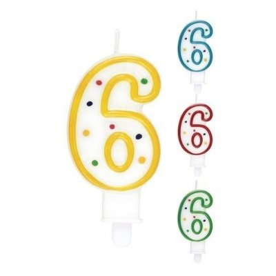 CANDELA COMPLEANNO N. 6 COLORI ASSORTITI 563406