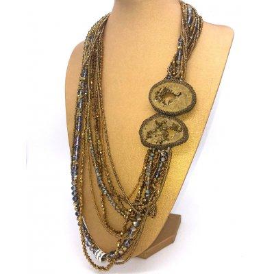 Collana multifilo color oro con fetta di agata