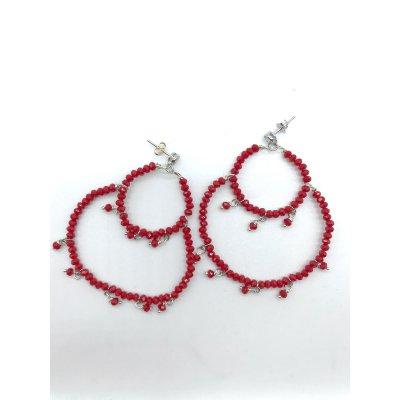 Orecchini chandelier mezzicristalli rossi