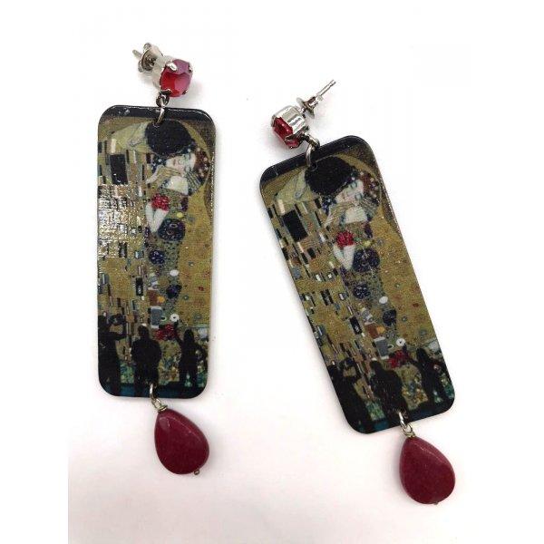 """Orecchini in legno """"Bacio di Klimt"""""""