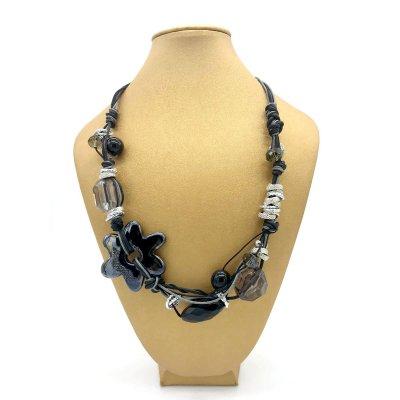 Collana girocollo in ceramica greca e acciaio color nero