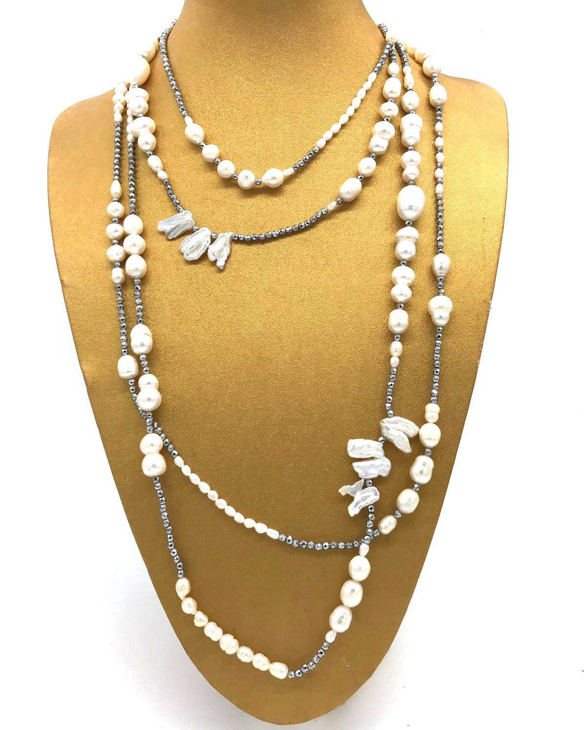Collana Chanel doppio filo in perle ed ematite