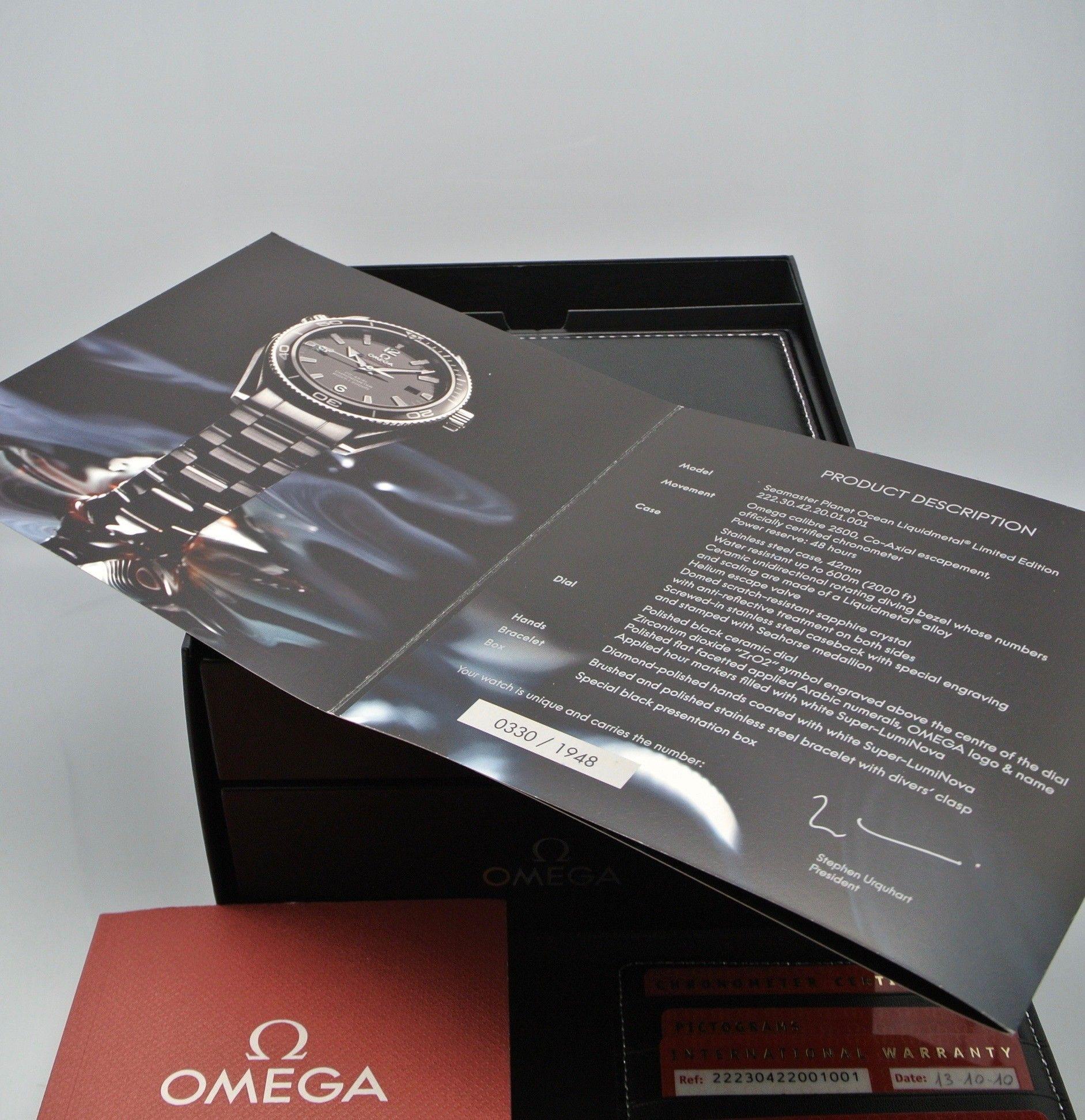 Omega Seamaster Planet Ocean LIQUIDMETAL Limited Edition 1948 pz NOS