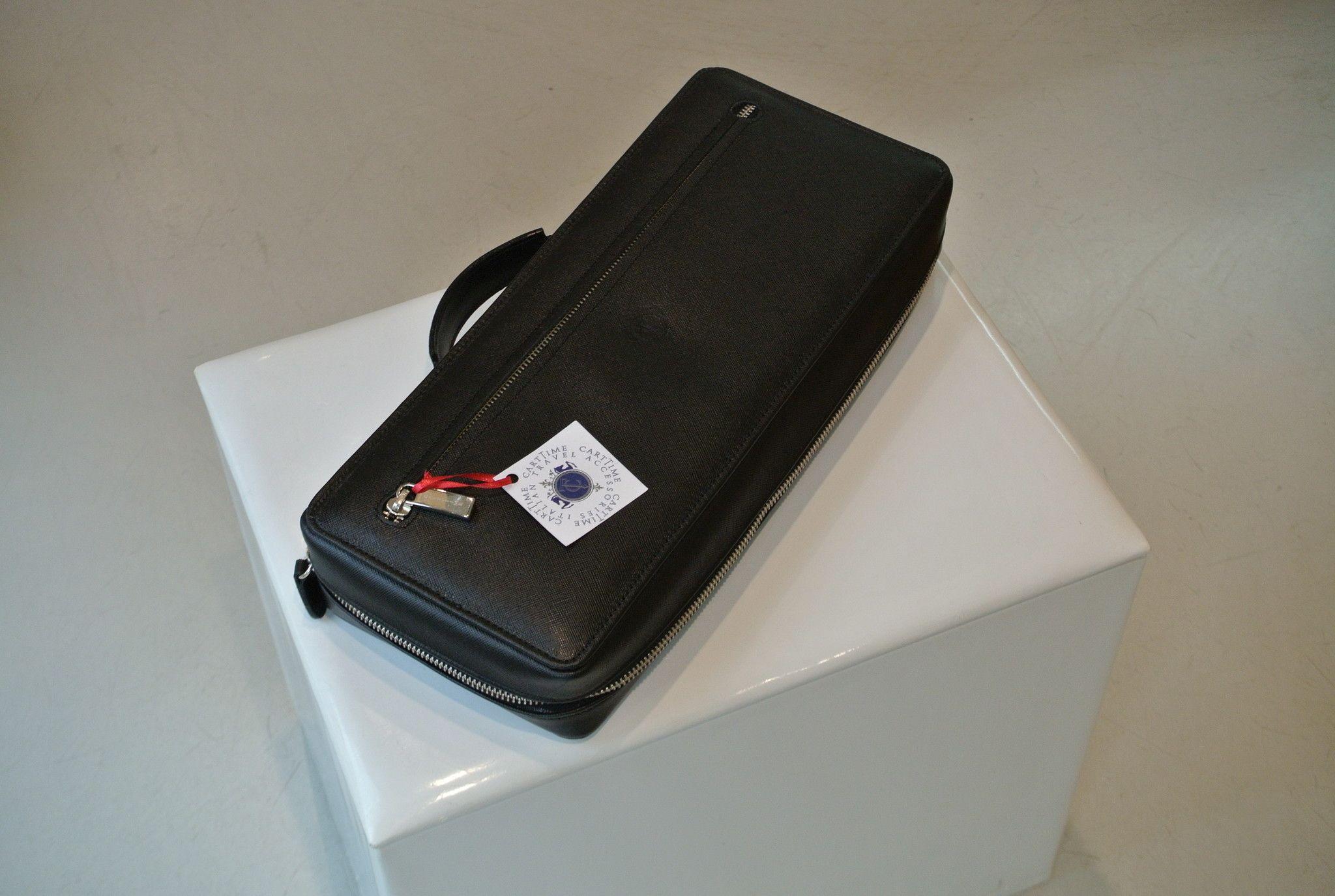 CARTIME borsa custodia portaorologi nera safiano 10 posti