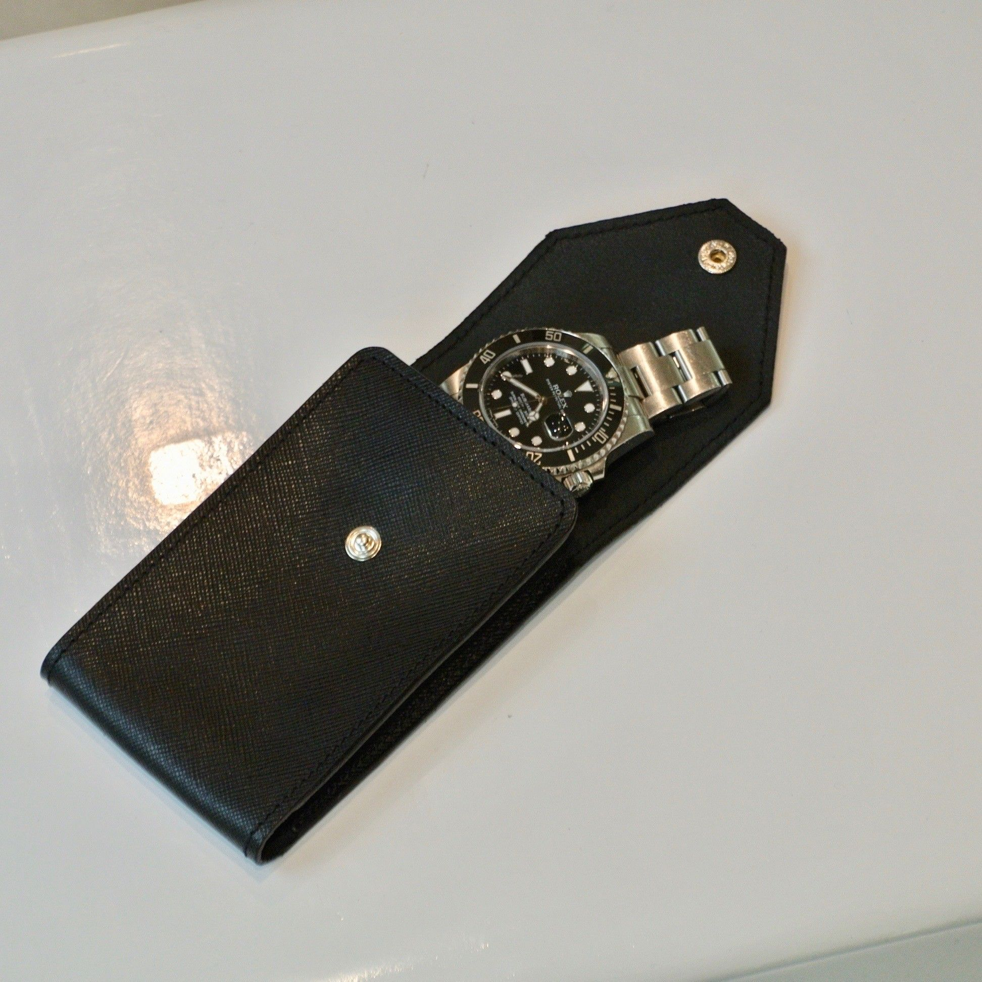 CartTime borsa custodia portaorologi nera safiano 10 posti