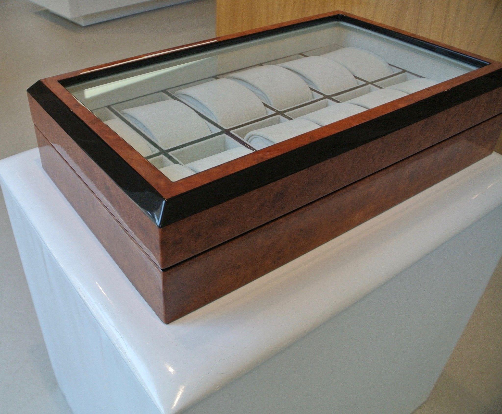 RAPPORT cofanetto portaorologi 12 pz in radica di legno
