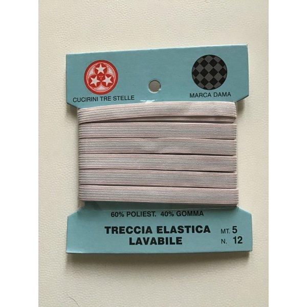 Treccia elastica lavabile colore bianco 60% poliestere 40% gomma cucirini Tre Stelle mod. DAMA mt. 5,00