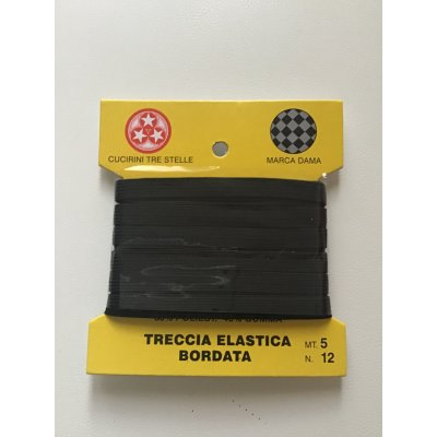 Treccia elastica lavabile colore nero 60% poliestere 40% MUSCHEN MOD.GUMMIBAND mt. 5,00