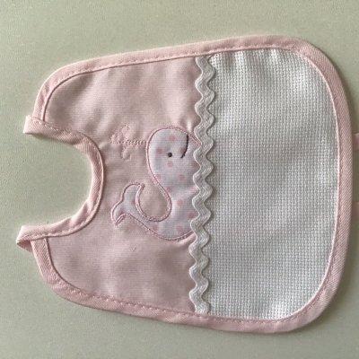 bavaglino rosa con elefantino da ricamo 17 cm per 19 cm stupenda ricami di giulia