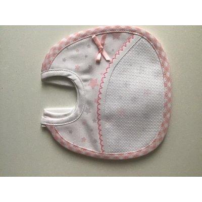 bavaglino rosa con stelline da ricamo ditta ricami di giulia mis.16 cm per 16 cm