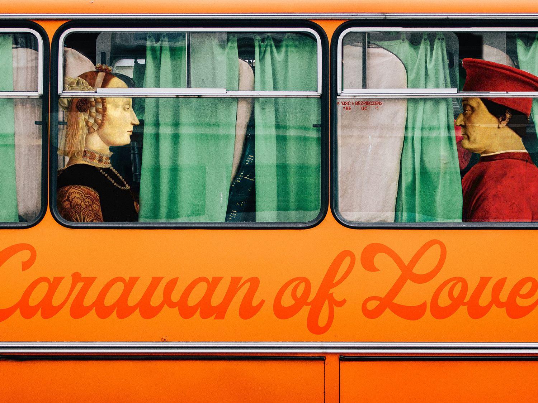 "FOTOGRAFIA DIGITALE SU TELA - ARTISTA SLASKY - TITOLO ""CARAVAN OF LOVE""   cm. L 100 x H 70"