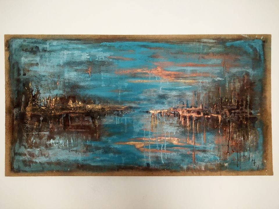 MIXED MEDIA  MARCO TUZI ' ATMOSFERA '  dimensioni L 134 x H 71 cm.
