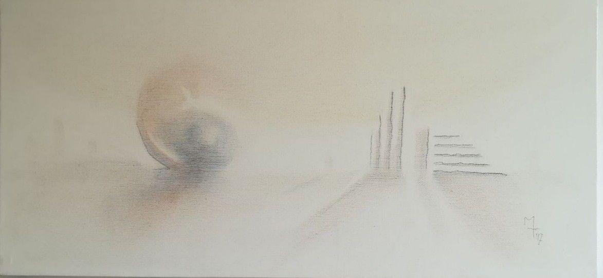GRAFITE SU TELA MARCO TUZI  ' EVANESCENZA CONTRO LUCE '  dimensioni L 68 x H 32 cm.