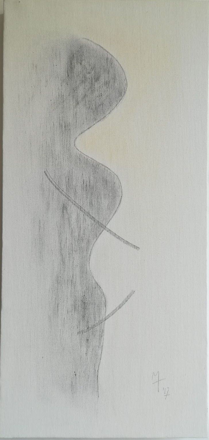 MIXED MEDIA MARCO TUZI ' EVANESCENZA ABBRACCIO '  dimensioni L 32 x H 68 cm.