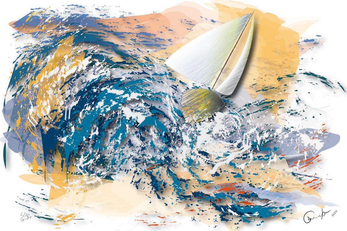 DIGITAL PAINTING CAMILLO BUCCELLA ' I FOUND HARMONY IN THE SEA '  dimensioni L 30 x H 20 cm.