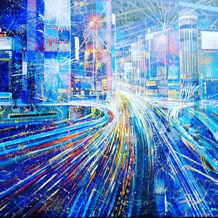 MIXED MEDIA  NILO BAZZANI  ' VIBRAZIONI DINAMICHE '  dimensioni  L 100 x H 80 cm.