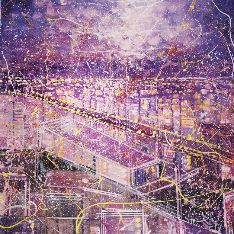 PROMOZIONE #artistadelmese MIXED MEDIA  NILO BAZZANI  ' LUCI IN MOVIMENTO '  dimensione L 50 x H 50 cm