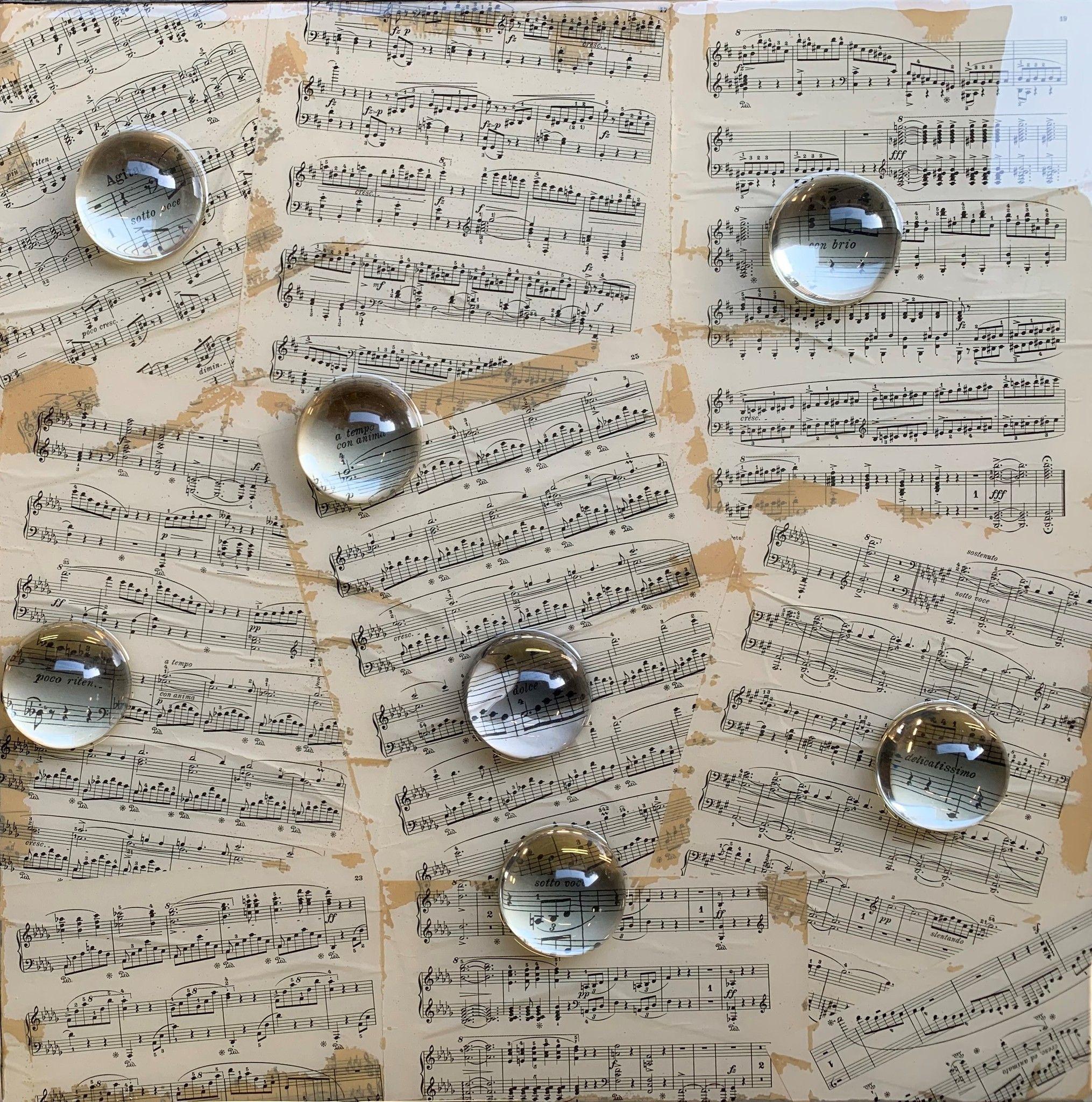 RESINE SU TAVOLA GIUSEPPE PORTELLA ' MUSICA E LUCE '  dimensioni L 60 x H 60 cm.
