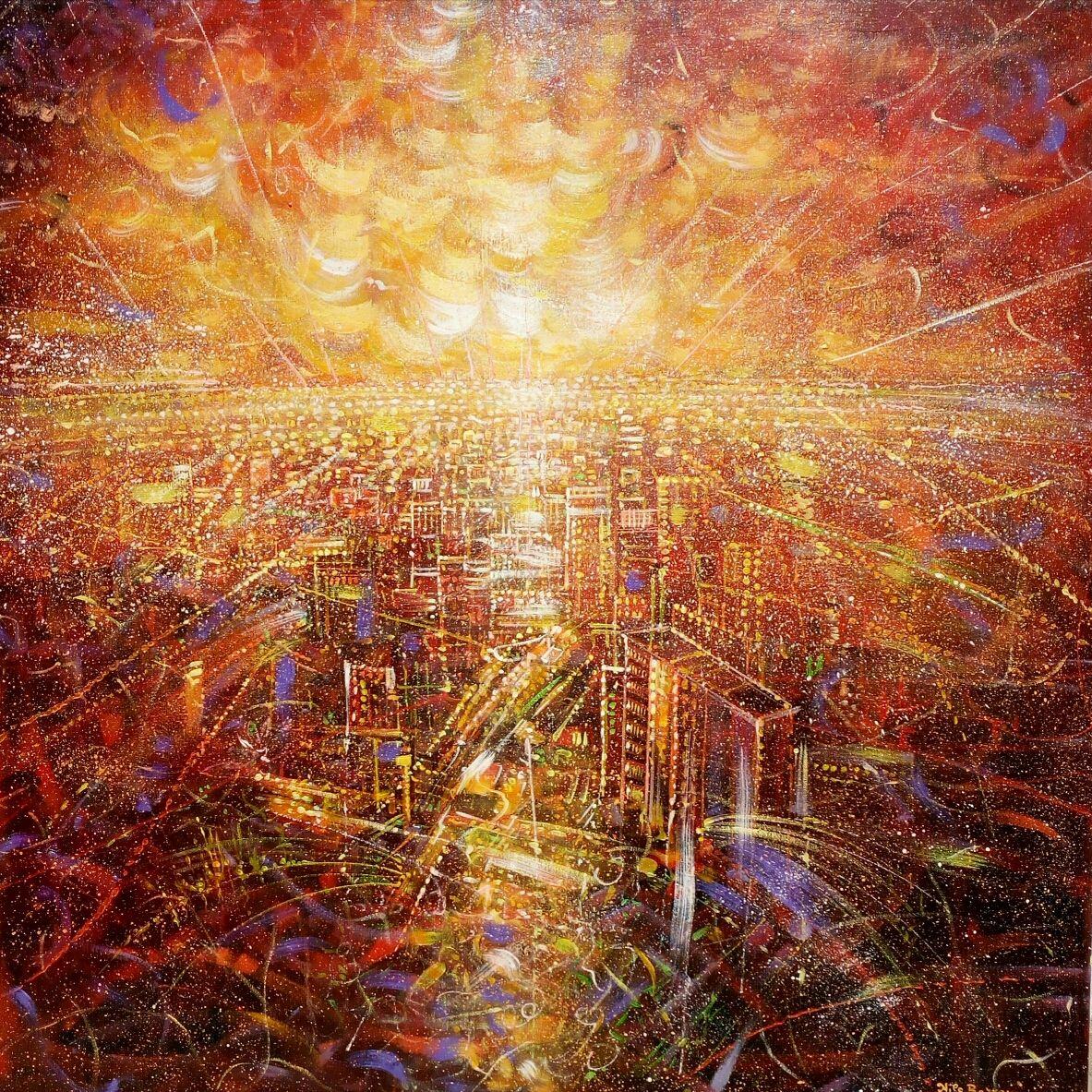 MIXED MEDIA  NILO BAZZANI  ' CITTA' ROSSA '  dimensioni L 100 x H 100 cm.