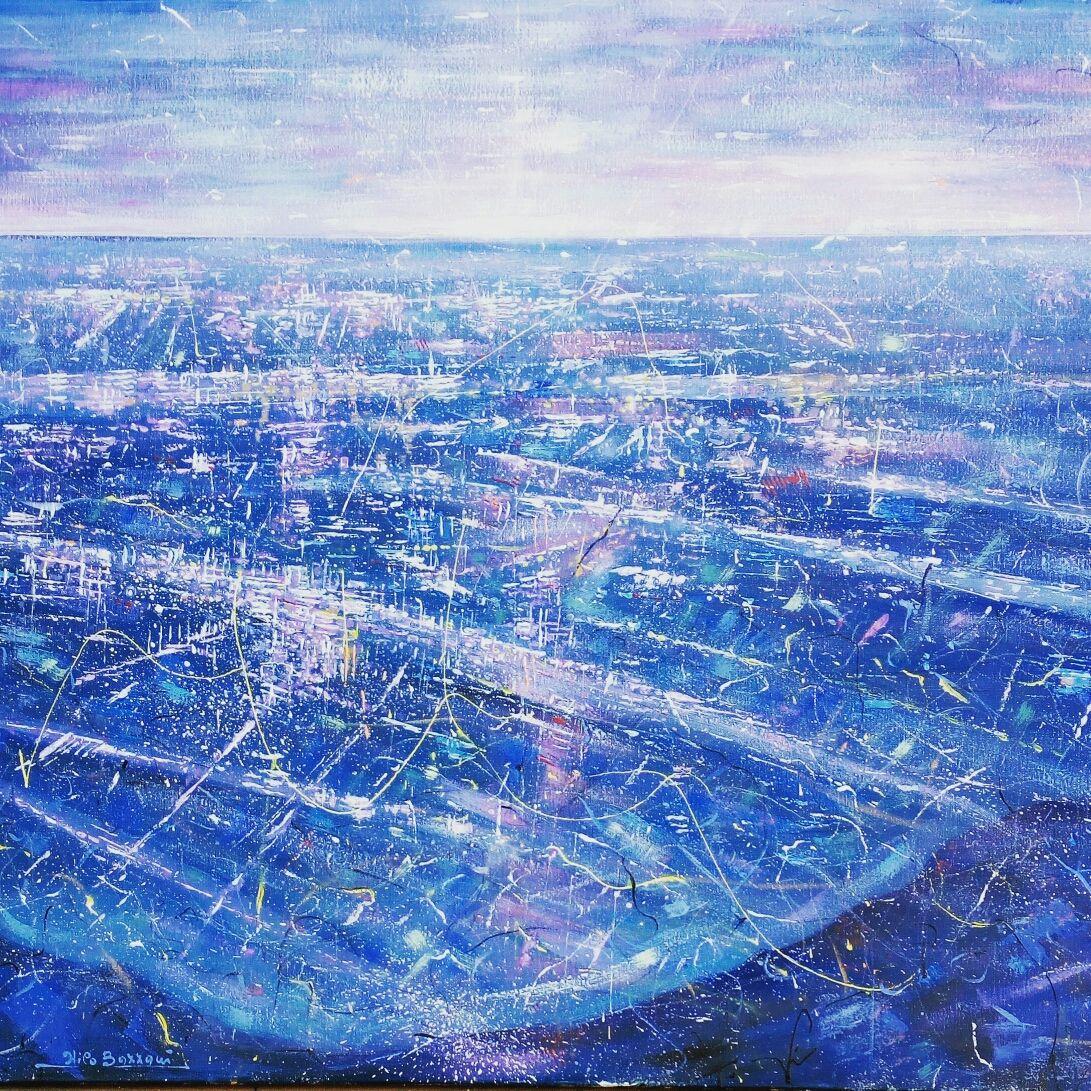 MIXED MEDIA  NILO BAZZANI  ' SORVOLANDO UN SOGNO '  dimensioni  L 100 x H 80 cm.