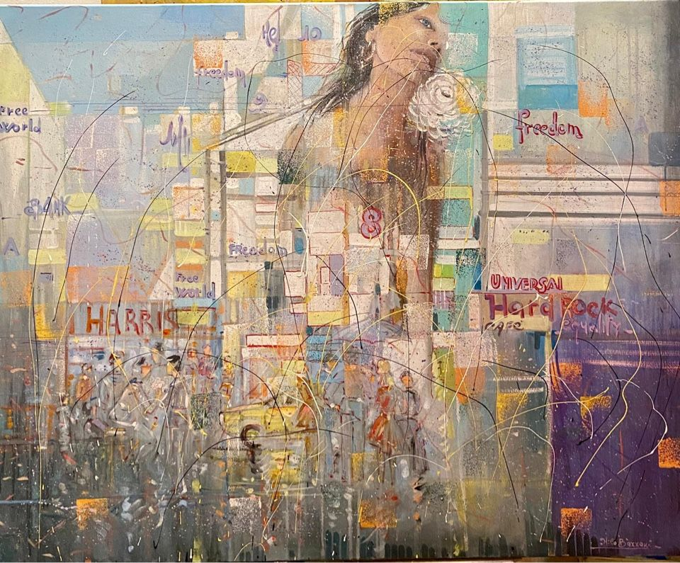MIXED MEDIA  NILO BAZZANI  ' FREEDOM '  dimensioni L 80 x H 100 cm.