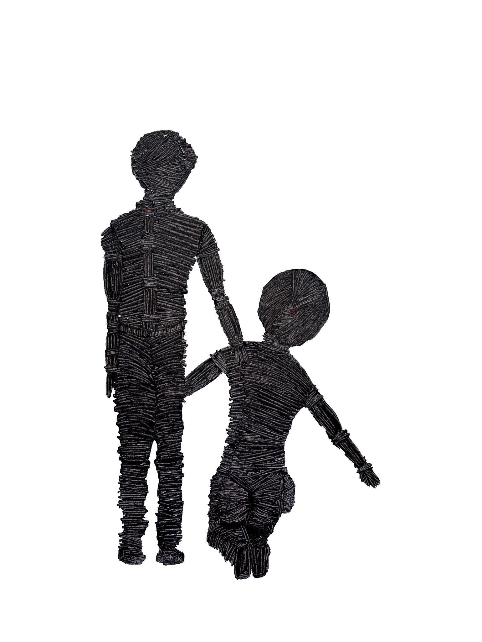 OLIO SU TELA ERIKA MARCHI  ' FATHER AND SON '  dimensioni L 60 x H 80 cm.