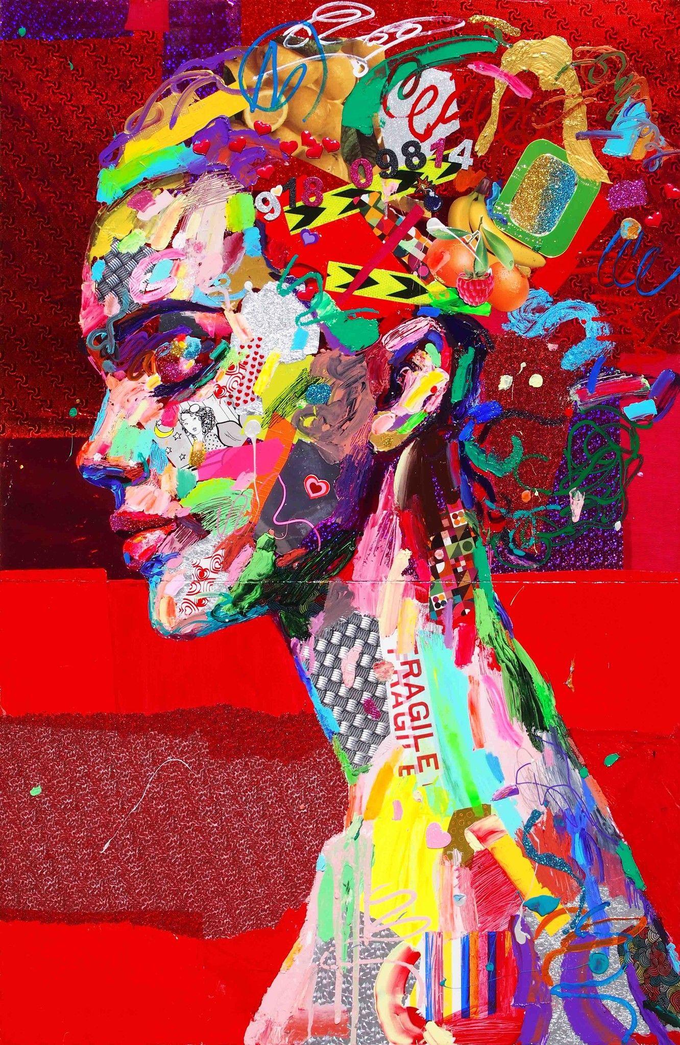 MIXED MEDIA  ANTONIO MURGIA ' WIZARD APPRENTICE '  size  L 120 x H 180 cm. (dittico)
