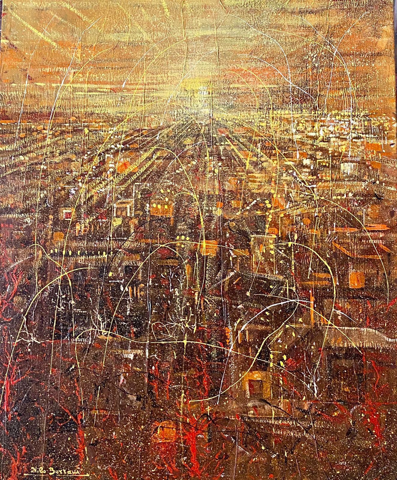 MIXED MEDIA  NILO BAZZANI ' THE YELLOW SKY '  dimensioni L 60 x H 70 cm.