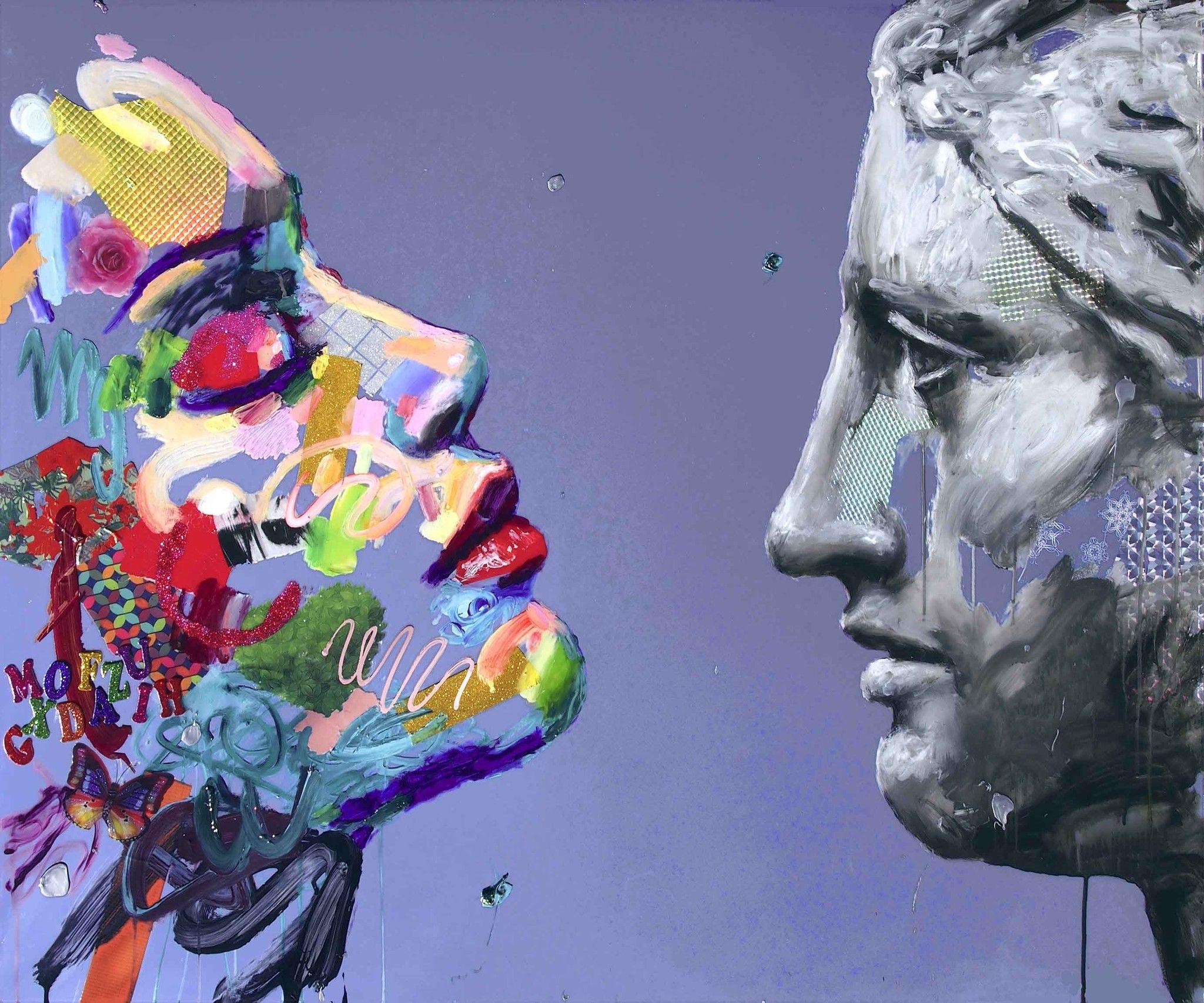 MIXED MEDIA  ANTONIO MURGIA ' THE HEART RESPONDS '  dimensioni L 120 x H 100 cm.