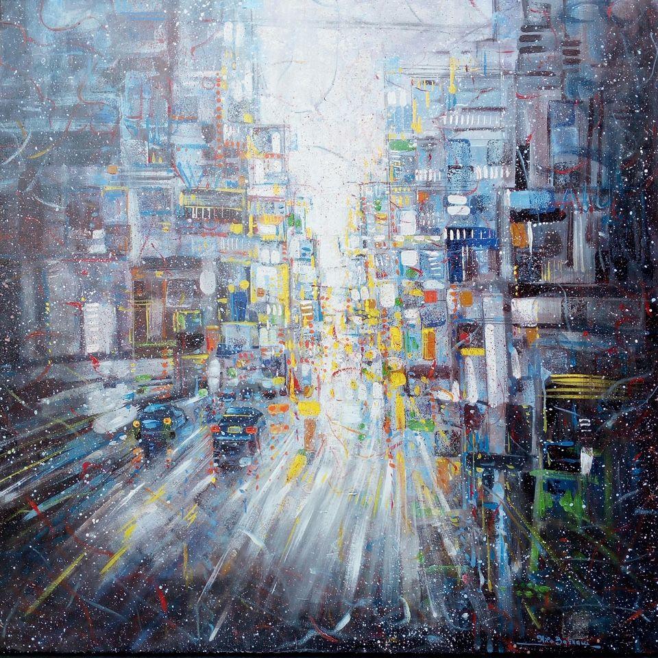 MIXED MEDIA  NILO BAZZANI ' ATMOSFERE IN CITTA' '  dimensioni  L 100 x H 100 cm.