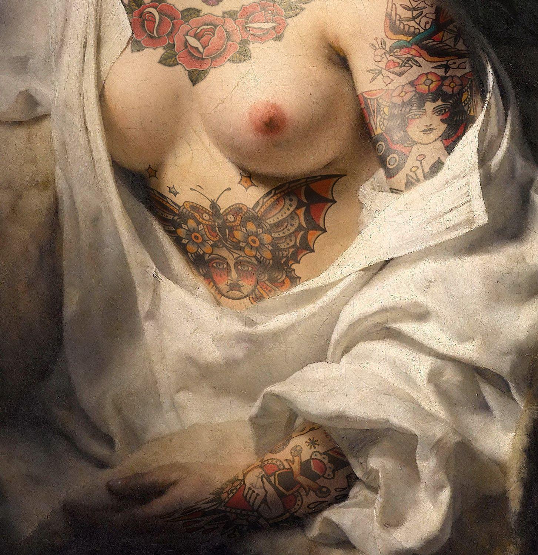 "FOTOGRAFIA DIGITALE SU TELA - ARTISTA SLASKY - TITOLO ""BATHSHEBA"" cm. L 60 x H 60"