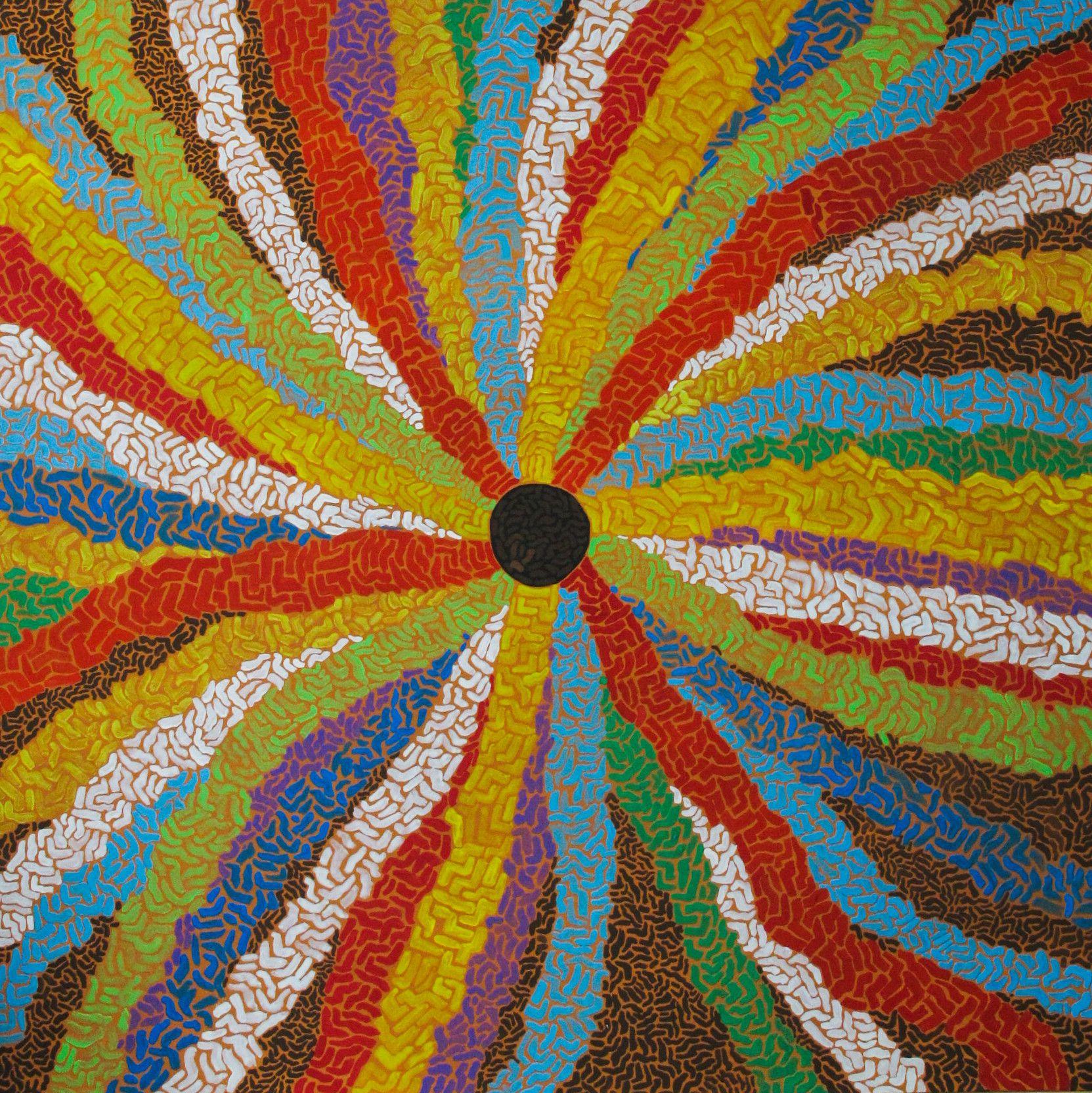 ACRILICO SU TELA  COSTANTINO GIOVINE ' FUTURO '  dimensioni L 80 x H 80 cm.